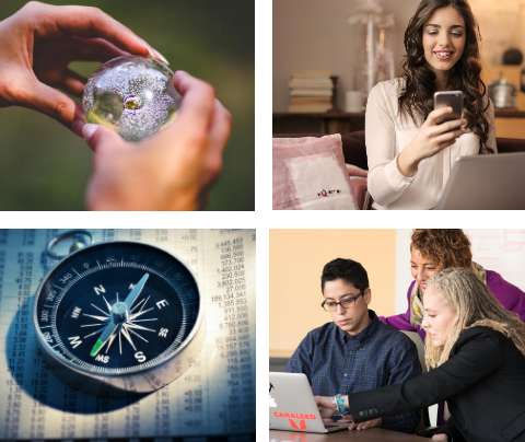 4 photos: Hands on globe, Woman on mobile phone and laptop, compass on newspaper, people looking at laptop